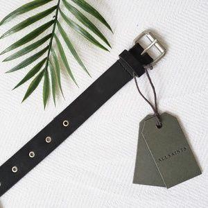 All Saints Ezra Leather Belt w/ Silver Grommets